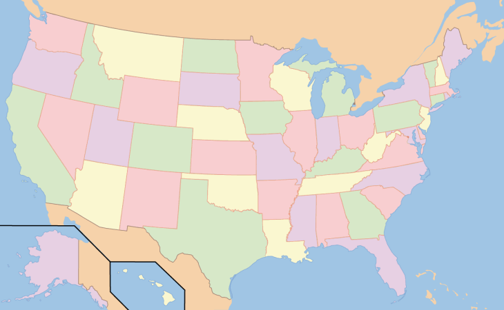 United States Map With Cities And States